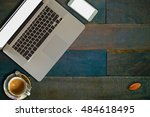 office desk   coffee and laptop | Shutterstock . vector #484618495