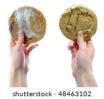 two hands holding two cookies... | Shutterstock . vector #48463102