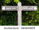 wooden signpost with two... | Shutterstock . vector #484644859