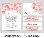 invitation with floral... | Shutterstock . vector #484661809