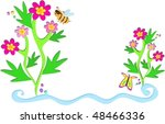 flowers  bees  and plants vector   Shutterstock .eps vector #48466336