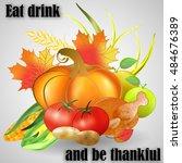 greeting card for thanksgiving... | Shutterstock .eps vector #484676389