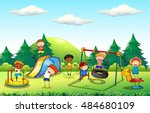 many kids playing in the... | Shutterstock .eps vector #484680109