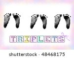 Triplet Baby Footprints With...