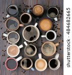 many cups of coffee on wooden... | Shutterstock . vector #484682665