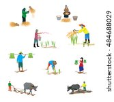lifestyle of farmer shape... | Shutterstock .eps vector #484688029
