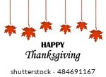 happy thanksgiving day. hanging ... | Shutterstock .eps vector #484691167