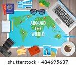 travel concept vector... | Shutterstock .eps vector #484695637