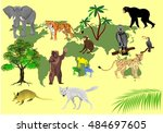 map of the earth and animals on ... | Shutterstock .eps vector #484697605