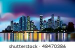 city at night reflecting over... | Shutterstock .eps vector #48470386