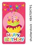 happy birthday card baner...   Shutterstock . vector #484709791