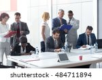 group of worker team at... | Shutterstock . vector #484711894