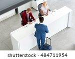 handsome male passenger on... | Shutterstock . vector #484711954