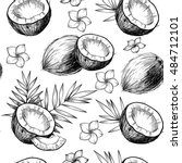 coconuts  tropical leaves and... | Shutterstock .eps vector #484712101
