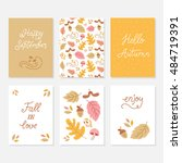 vector set of greeting cards... | Shutterstock .eps vector #484719391
