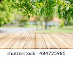 empty wooden table with garden... | Shutterstock . vector #484725985