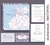 set of wedding cards or... | Shutterstock .eps vector #484729591