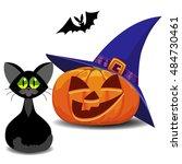 orange pumpkin smiling. black... | Shutterstock .eps vector #484730461
