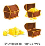 set of vintage wooden chest...