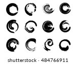 set of black grunge circle... | Shutterstock .eps vector #484766911