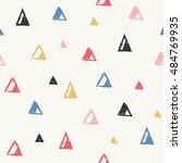linocut triangles seamless... | Shutterstock .eps vector #484769935