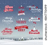 merry christmas  happy new year ... | Shutterstock .eps vector #484770499