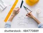 architect drawing blueprints ... | Shutterstock . vector #484770889
