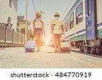 loving tourists holding... | Shutterstock . vector #484770919