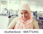 muslim girl traveler | Shutterstock . vector #484771441