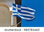 Greek National Flag Closeup On...