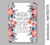 romantic pink peony bouquet...   Shutterstock .eps vector #484783774