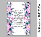 romantic pink peony bouquet... | Shutterstock .eps vector #484783834