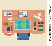 traveler table place of work ... | Shutterstock .eps vector #484798327