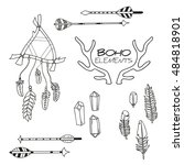 set of hand drawn boho elements ... | Shutterstock .eps vector #484818901