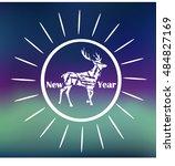 hipster  deer congratulations... | Shutterstock .eps vector #484827169