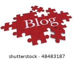 3D rendering of a forming puzzle with the word Blog - stock photo