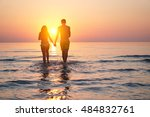 silhouette of two lovers... | Shutterstock . vector #484832761