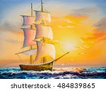 oil painting   sailing boat | Shutterstock . vector #484839865