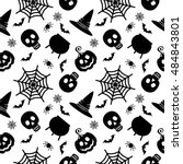 vector halloween seamless... | Shutterstock .eps vector #484843801