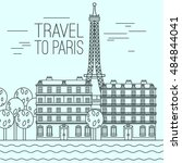 paris cityscape with seine... | Shutterstock .eps vector #484844041