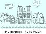 paris cityscape with notre dame ... | Shutterstock .eps vector #484844227