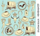cowboy seamless pattern   Shutterstock .eps vector #484846459