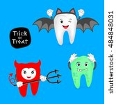 halloween concept of teeth set. ... | Shutterstock .eps vector #484848031