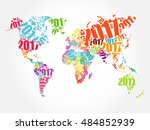 2017 happy new year  world map... | Shutterstock .eps vector #484852939