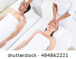happy couple getting massage at ... | Shutterstock . vector #484862221