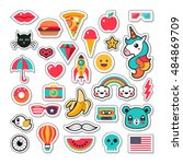 trendy fashion chic patches ... | Shutterstock .eps vector #484869709