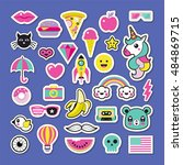 trendy fashion chic patches ... | Shutterstock .eps vector #484869715