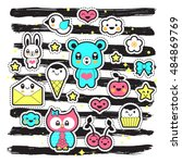 kawaii fashion chic patches ... | Shutterstock .eps vector #484869769