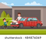 washing of car outdoors. father ... | Shutterstock .eps vector #484876069