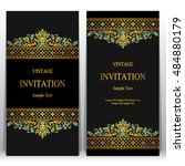 wedding invitation or card with ... | Shutterstock .eps vector #484880179